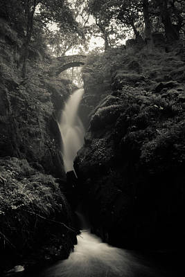 Photograph - Aira Force - Black And White by Kathryn Bell