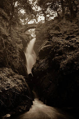 Photograph - Aira Force - Sepia by Kathryn Bell