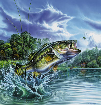 Largemouth Painting - Airborne Bass by Jon Q Wright