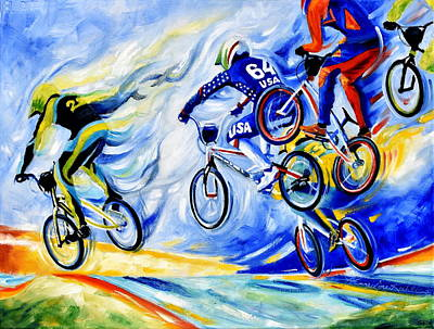 Sports Paintings - Airborne by Hanne Lore Koehler