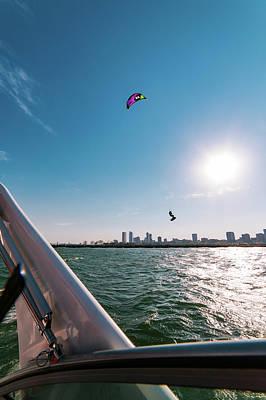 Milwaukee Skyline Photograph - Airborne Kite Surfer by Vincent Buckley
