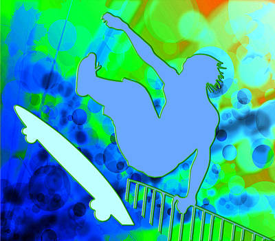 Airborne Skateboarder In Blue And Green Bokkeh  Art Print