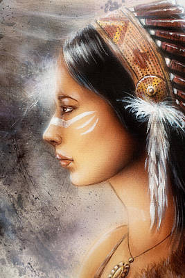 Indian Cherokee Digital Art - Airbrush Painting Of A Young Indian Woman. Profile Portrait by Jozef Klopacka