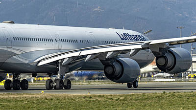 Commercial Photograph - Airbus A340-600 Lufthansa Line Up Runway 36 by Roberto Chiartano