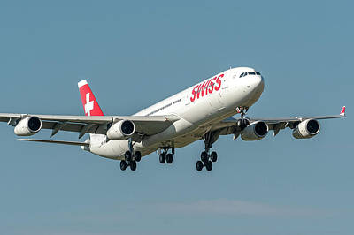 Commercial Photograph - Airbus A340 Swiss Air Hb-jmi by Roberto Chiartano