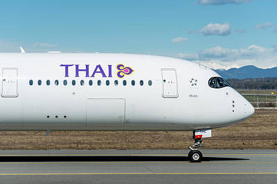 Air Photograph - Airbus A350 Thai Milano Malpensa Airport Nose by Roberto Chiartano