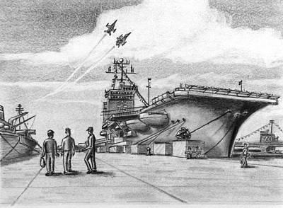 Aircraft Carrier Art Print by Vic Delnore