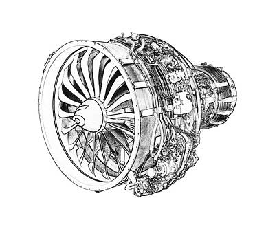 Digital Art - Aircraft Engine by PixBreak Art