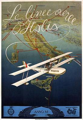 Airplane Mixed Media - Aircraft Flying Over Italy - Byplane - Retro Travel Poster - Vintage Poster by Studio Grafiikka