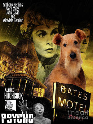 Painting - Airedale Terrier Art Canvas Print - Psycho Movie Poster by Sandra Sij