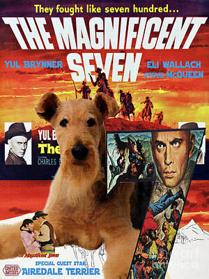 Painting - Airedale Terrier Art Canvas Print - The Magnificent Seven Movie Poster by Sandra Sij