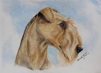 Puppy Drawing - Airedale Terrier by Daniele Trottier