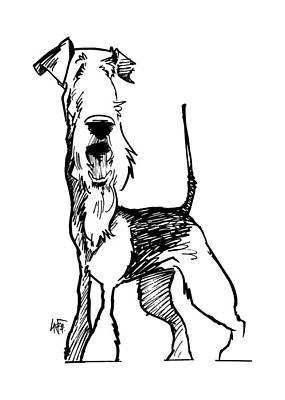 Drawing - Airedale Terrier Gesture Sketch by John LaFree