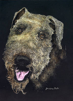Mixed Media - Airedale Terrier Portrait by Jessica Kale