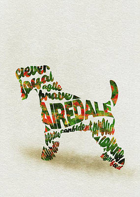 Airedale Terrier Watercolor Painting / Typographic Art Art Print