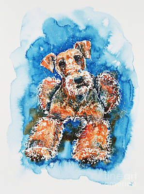 Airedale Terrier Painting - Airedale Terrier by Zaira Dzhaubaeva