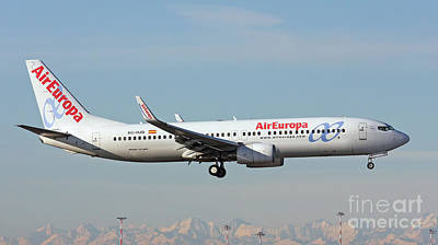 Print featuring the photograph Aireuropa - Boeing 737-800 - Ec-hjq  by Amos Dor