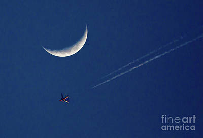 Photograph - Airliner And Crescent Moon 2 by Kevin McCarthy