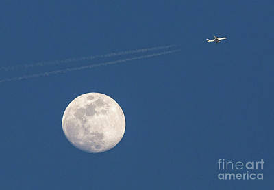 Photograph - Airliner And Full Moon by Kevin McCarthy