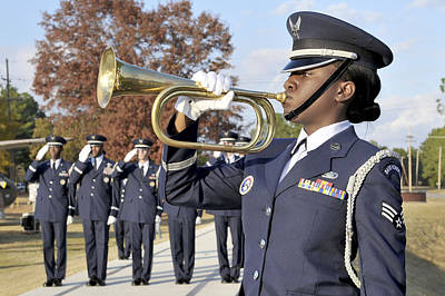Airman Plays Taps During The Veterans Art Print by Stocktrek Images
