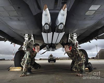 Airmen Check The Gbu-39 Small Diameter Art Print by Stocktrek Images