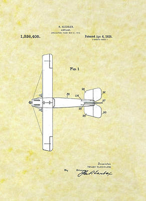 Drawing - Airplane 1918 A Patent by Movie Poster Prints