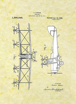 Drawing - Airplane 1918 Patent by Movie Poster Prints