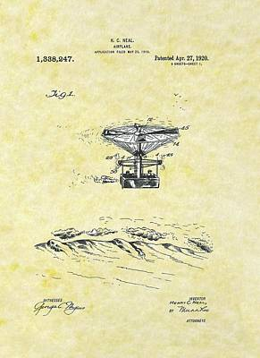 Drawing - Airplane 1919 Patent by Movie Poster Prints