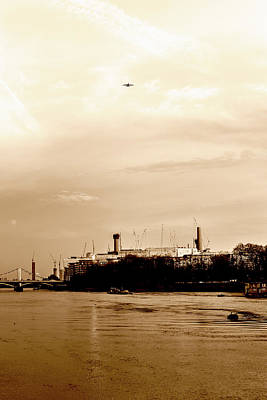 Photograph - Airplane Above Battersea Power Station In London Sepia by Jacek Wojnarowski