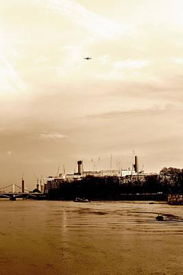 Photograph - Airplane Above Battersea Power Station In London Sepia by Jacek Wojnarowski