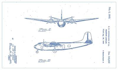 Vector Painting - Airplane Design Patent - 1945 Blueprint Drawing 2 by Celestial Images