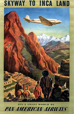 Inca Painting - Airplane Flying Ove The Mountains In South America - Incas - Vintage Illustrated Poster by Studio Grafiikka