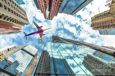 Photograph - Airplane Flying Over Skyscrapers by Benny Marty