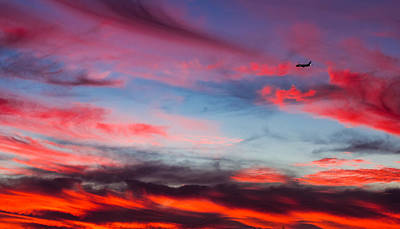 Airplane In The Sunset Art Print by April Reppucci