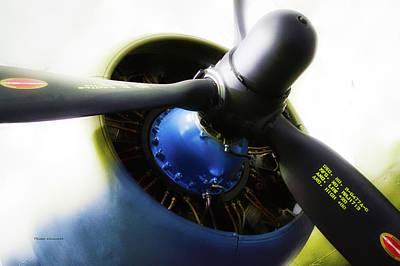 Passenger Plane Mixed Media - Airplane Military C47a Skytrain Engine Propeller by Thomas Woolworth