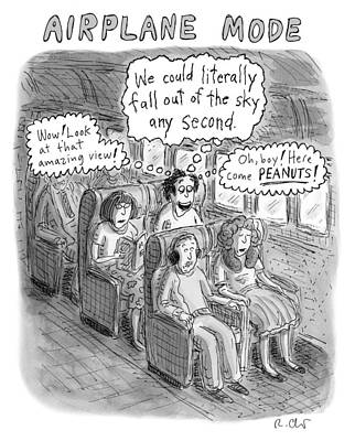 Drawing - Airplane Mode by Roz Chast