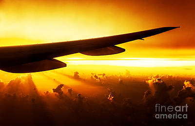 Airplane On Sunset Art Print