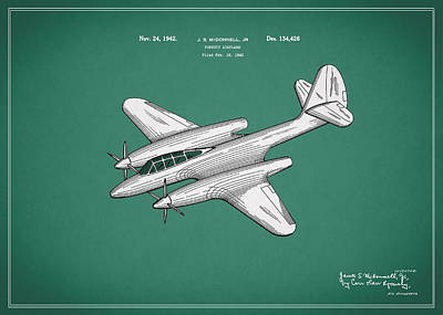 Airplane Photograph - Airplane Patent 1942 by Mark Rogan