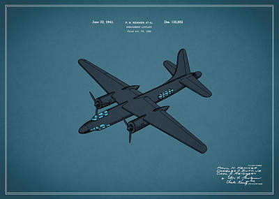 Airplane Photograph - Airplane Patent 1943 by Mark Rogan