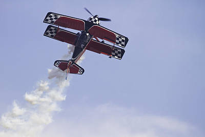 Bi Planes Photograph - Airplane Performing Stunts At Airshow Photo Poster Print by Keith Webber Jr