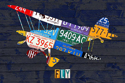 Aviation Mixed Media - Airplane Vintage Biplane Silhouette Shape Recycled License Plate Art On Blue Barn Wood by Design Turnpike