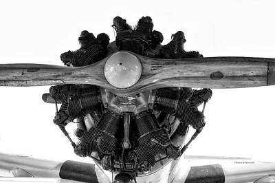 Warbird Mixed Media - Airplane Wooden Propeller And Engine Timm N2t-1 Tutor Bw by Thomas Woolworth