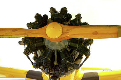 Warbird Mixed Media - Airplane Wooden Propeller And Engine Timm N2t-1 Tutor by Thomas Woolworth