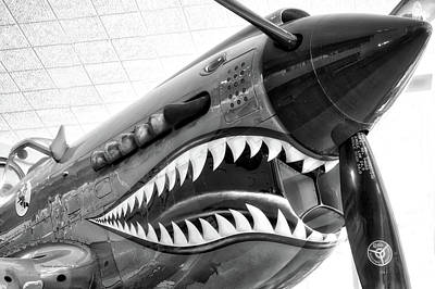 Warbird Mixed Media - Airplanes Flying Tigers Propeller Bw by Thomas Woolworth