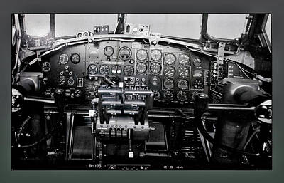 Cockpit Mixed Media - Airplanes Military B 17b Instrument Panel by Thomas Woolworth