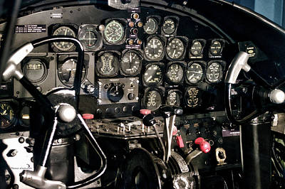 Cockpit Mixed Media - Airplanes Military B25 Bomber Instrument Panel by Thomas Woolworth