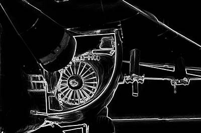 Red And White Quilt Mixed Media - Airplanes Military F111a Aardvark Jet Engine Intake Bw by Thomas Woolworth