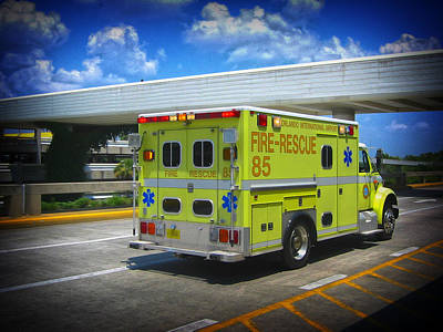 Photograph - Airport Ambulance by RKAB Works