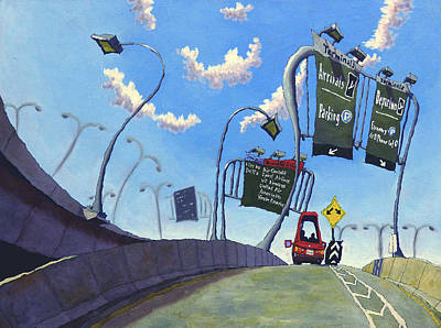 Boston Painting - Airport Arrivals by Mike Gruber