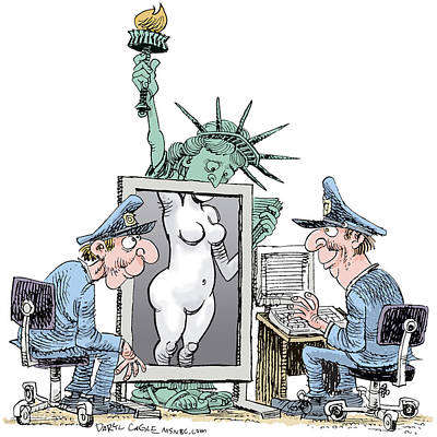 Drawing - Airport Security And Liberty by Daryl Cagle